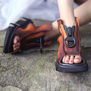 Kobiety skórzane sandały buty na koturnie trampki buty letnie Retro sandały damskie ręcznie robione sandały z prawdziwej skóry buty czarne na co dzień
