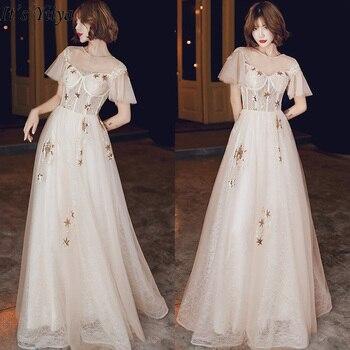 It's Yiiya Evening Dresses Shining Stars O-neck Women Party Dress Elegant Champagne Long Robe de Soiree Plus Size LF198