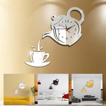 3D Acrylic Mirror Wall Clock Creative DIY Coffee Cup Teapot Wall Clock Home Living Room Decorative Self-adhesive Wall Clocks 1
