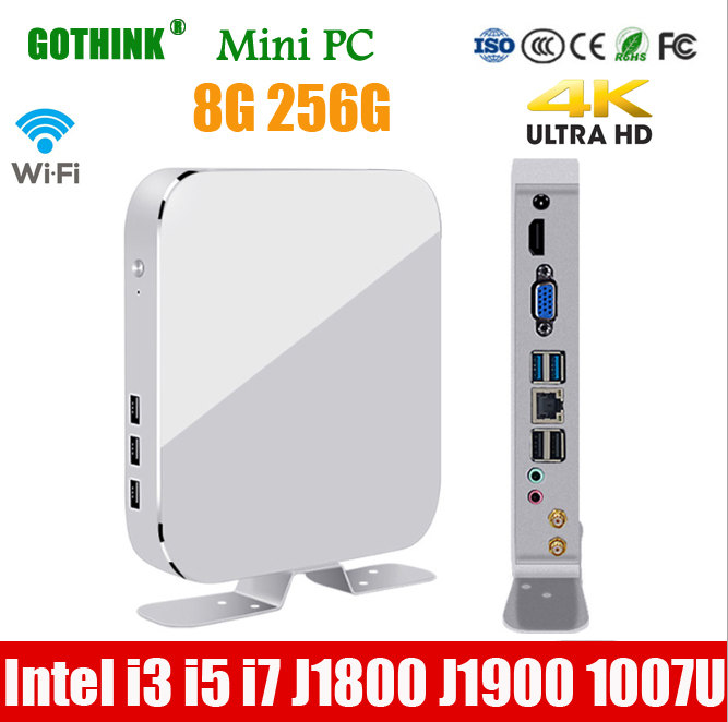 GOTHINK Mini Pc With WiFi 8G 256G Intel I3 I5 I7 J1800 J1900 1007U Processor Windows 7/8/10 Linux 4K HDMI VGA  Pocket PC USB 3.0