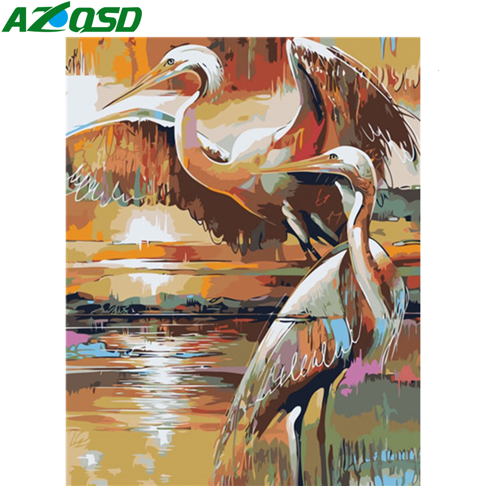 AZQSD Oil Painting Bird HandPainted Kits Drawing Canvas Pictures By Numbers Animal Home Decoration DIY Gift 40X50cm