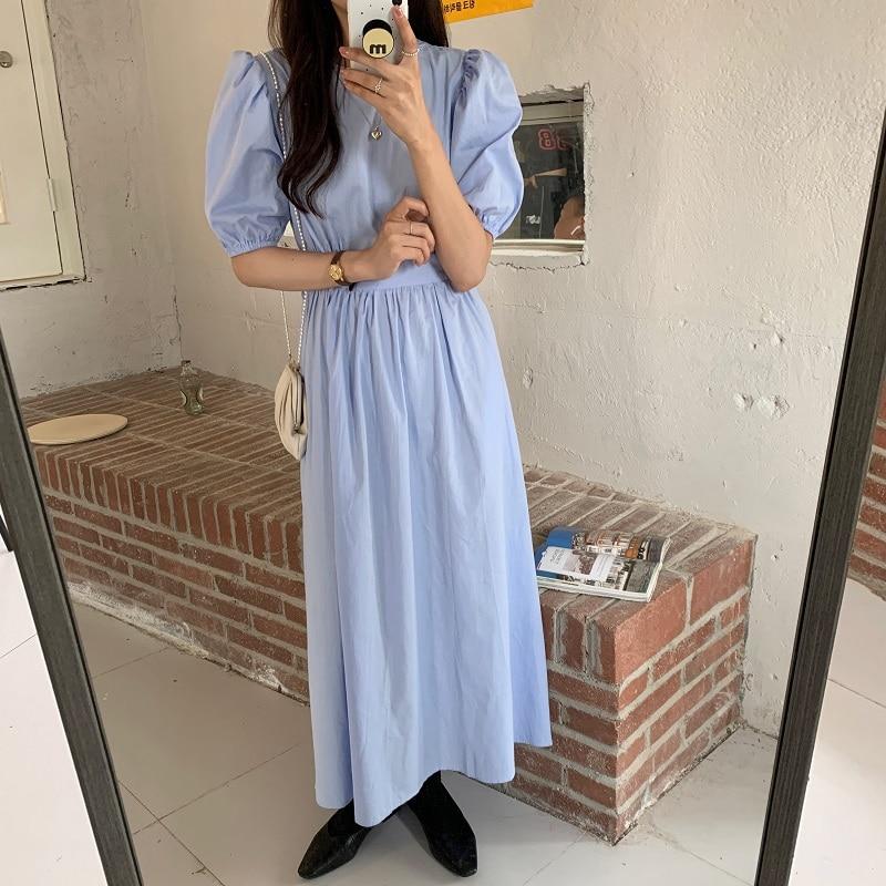 Hb9503d368a084610a22d053451d925ddZ - Summer O-Neck Short Sleeves Elastic-Waist Calf Length Solid Dress