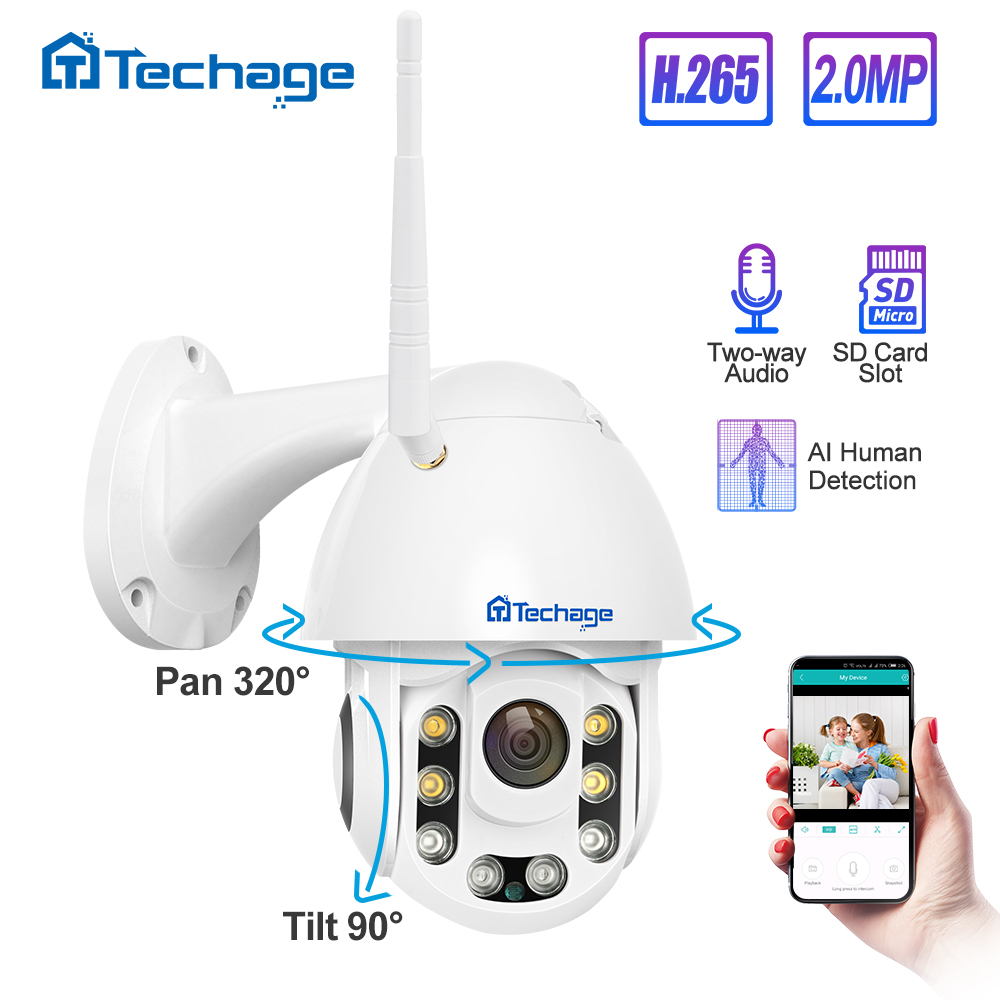 Techage 1080P 2MP Wireless PT IP Camera Speed Dome WIFI Security Outdoor Two Way Audio AI Human Detect Onvif CCTV Surveillance