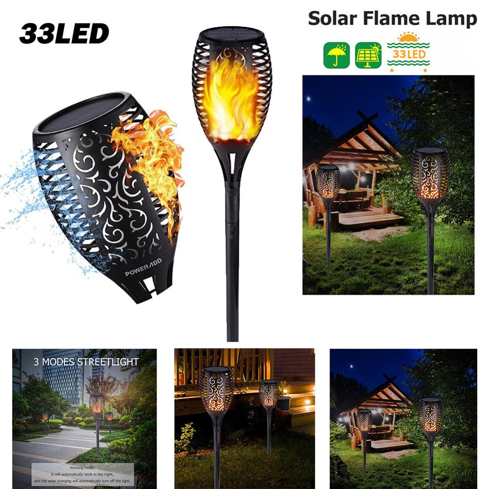 33LED Soft Light Control Solar Flame Light Dance Flame Design Outdoor Waterproof Garden Torch Lamp Waterproof Garden Torch Lamp
