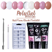 Beateal 15g Poly Gel Kits Franse Nail Art Clear Camouflage Kleur Nail Tip Vorm Kristal UV Gel Polygel Slice brush Nail Gel(China)