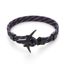 New Arrival Airplane Anchor Bracelets Men Charm Rope Chain 5