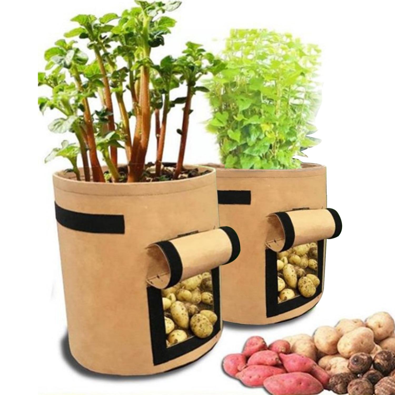 2 PCS Plant Bag Home Garden Potato Greenhouse Cultivation Vegetable Planting Bag Moisturizing Jardin Tool Grow Bag Seedling Pot