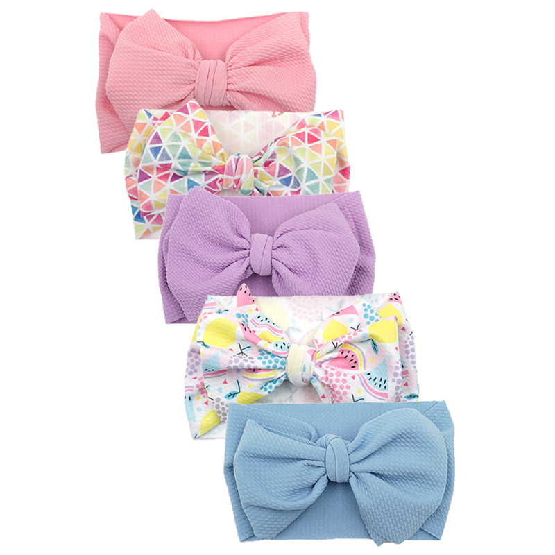 5PCS Large Bows Newborn Baby Girl Headband Baby Hair Accessories Bullet Fabric Nylon Hairbands Toddler Headbands Kids Headwraps
