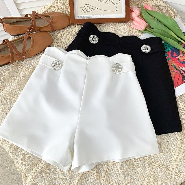 Ashgaily 2021 New Women's Shorts Diamond bow Shorts Slim Wide Leg A-line Sexy Shorts Summer Fashion 4