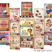 Cupcakes Retro Metal estaño signos Vintage placa postre pastel tienda arte decoración de pared Bar decoración de pared de hogar y bares Retro Metal arte Poster