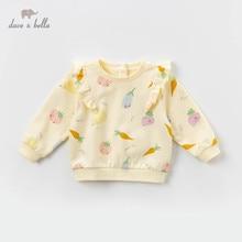 DBZ13335 dave bella spring baby girls fruit print ruched T shirt children long sleeve tops girls cute pullover kids fashion tees