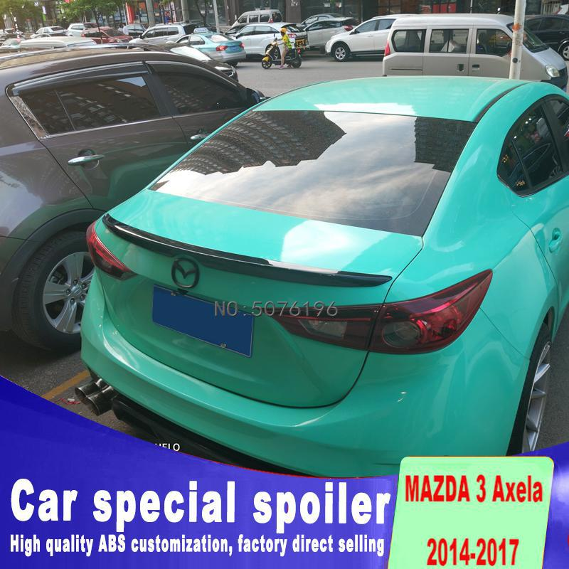 For Mazda 3 <font><b>RX8</b></font> Spoiler 2014-2017 High Quality ABS Material Car Rear <font><b>Wing</b></font> Primer Color Rear Spoiler For Mazda 3 Spoiler Sedan image