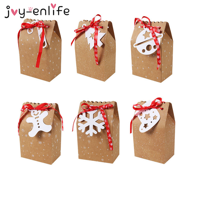 Best  3pcs Snowflake Christmas Paper Bags Gift Boxes Candy Cookie Packaging Box with White Tag Ribbon Nav