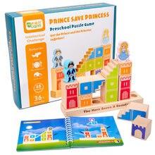 Blocos de construção de madeira montessori, camelot jr, brinquedos, príncipe, salva a princesa, jogos interativos para crianças, blocos 3d, presentes de natal