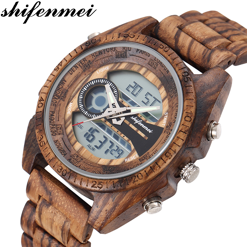 SFMEI S2139 Antique Natural Digital Men Watches LED Display Engraved Wooden Luminous Hand Boys Brand Male Female Watch