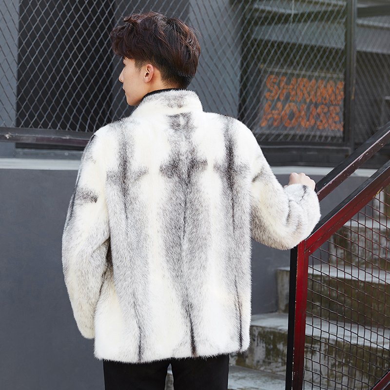 Mens Mink Coat Winter Jacket Real Fur Coat Men Korean Genuine Fur Coats Warm White Luxury Jacket ZD0004-1 KJ2720