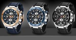 Image 5 - BENYAR ブランド高級メンズ腕時計レザークォーツ時計ファッションクロノグラフ腕時計男性スポーツ軍事レロジオ Masculino