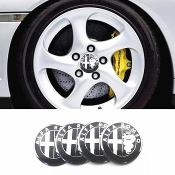 Coche-estilo de 4 Uds 56mm neumático de coche tapas de cubo de rueda de la etiqueta engomada para Alfa Romeo Mito 147, 156, 159, 166 Giulietta Spider