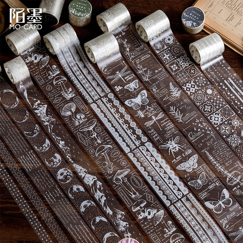 Transparent Retro Lace Flowers Pet Washi Tape Diy Decoration Scrapbooking Planner Masking Tape Adhesive Tape Label Sticker