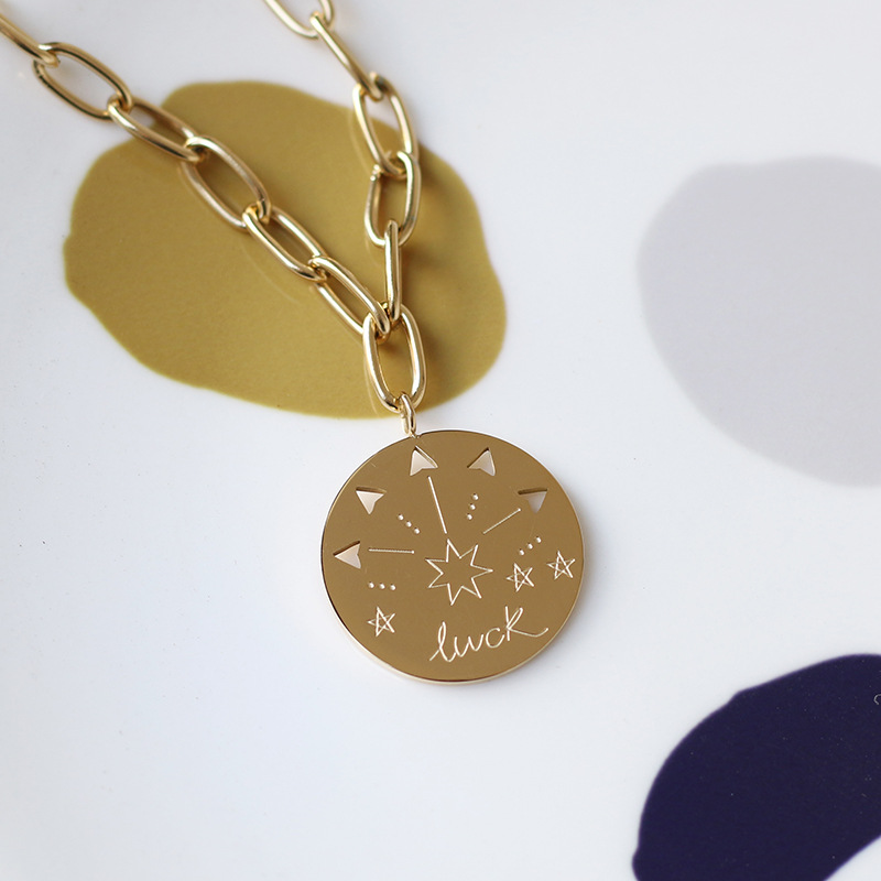 Amaillis 14K 골드 로마 동전 목걸이 펜던트 화살표 발산 별 목걸이 스웨터 체인 여성 쥬얼리에 대한
