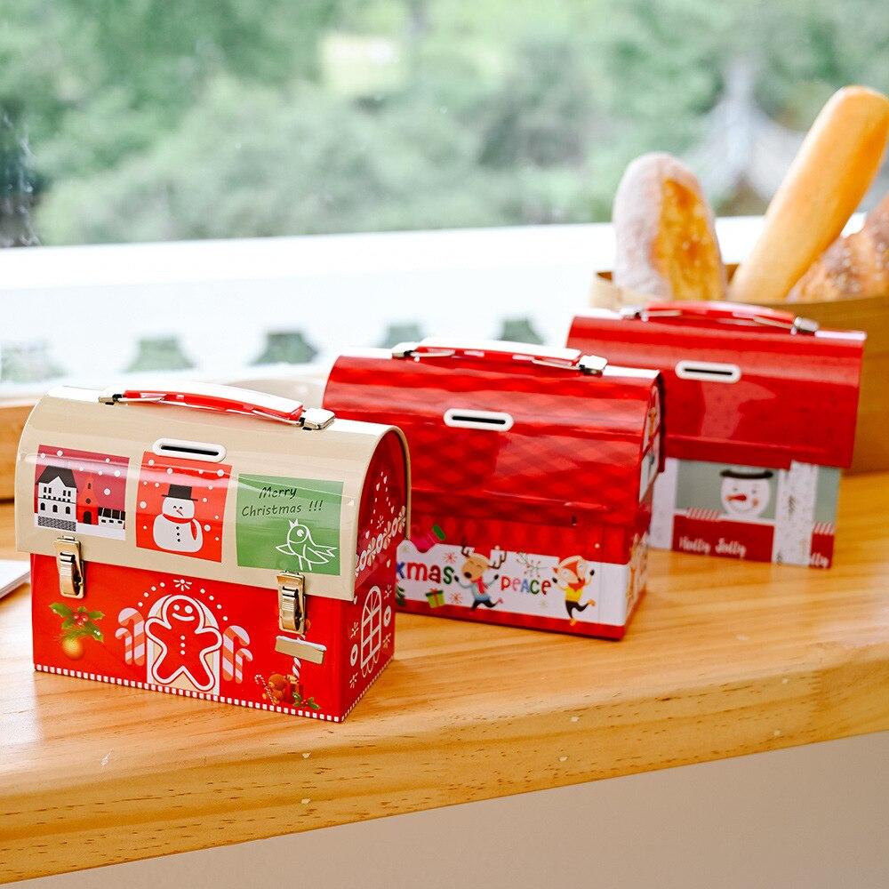 New Christmas Decorations Cartoon Candy Box Tinplate Savings Box Wrought Iron Storage Tank Santa Claus Holiday Gift Decoration