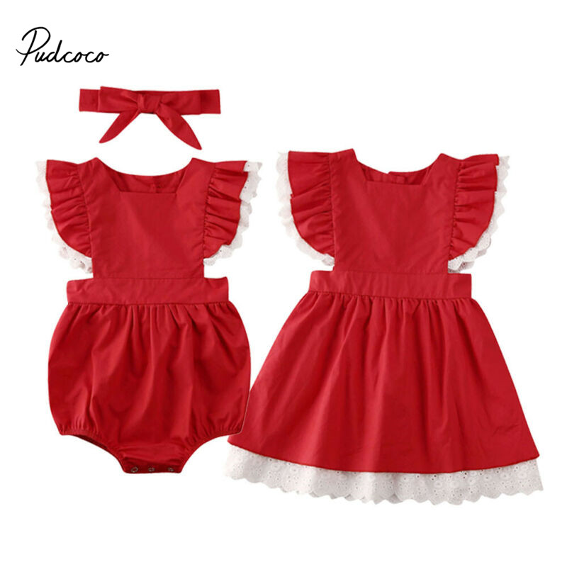 Pudcoco Little Big Sister Matching Outfits Infant Lace Baby Girl Short Sleeve Red Romper Outfit Christmas Dress Clothes