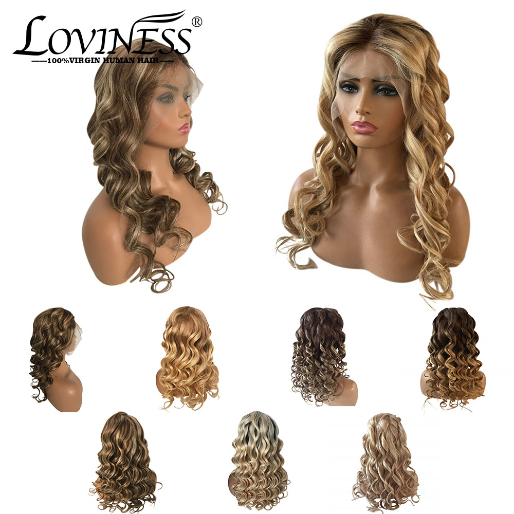 Remy Ombre Balayage Blonde Lace Front Human Hair Wig Pre-plucked Natural Loose Wave Highlight Curly Kinky Brazilian Black Women