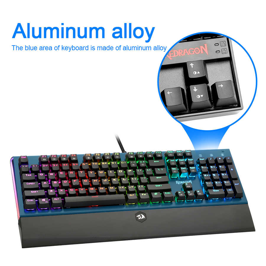 Redragon K569 Rgb الألومنيوم USB الألعاب الميكانيكية لوحة المفاتيح الأزرق التبديل Led الخلفية 104 مفتاح مكافحة الظلال السلكية جهاز كمبيوتر شخصي Gamer