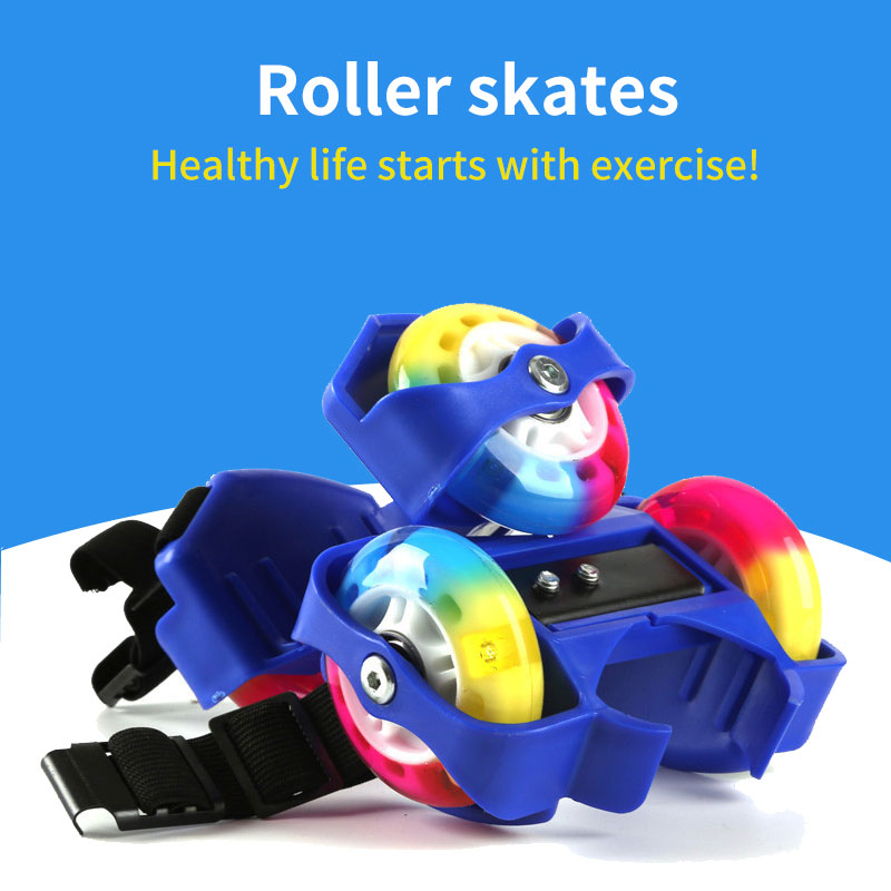 Children Wheel Heel Roller Skate Shoes LED Flashing Light Adjustable Hot Wheels Sport Colorful Small Whirlwind Skiing Tools