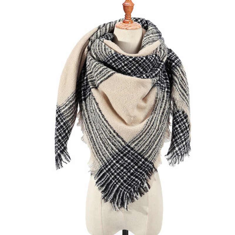 1pcs 니트 봄 겨울 여성 스카프 격자 무늬 따뜻한 캐시미어 스카프 shawls 럭셔리 브랜드 목 레이디