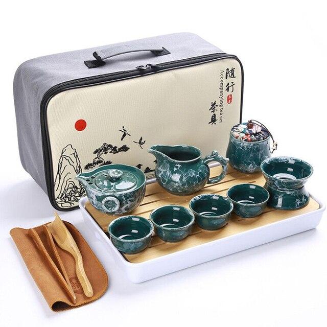 Cinese di alta qualità kung fu tea set in ceramica teiera portatile set da viaggio outdoor gaiwan tazze di tè cerimonia del tè tazza da tè 3