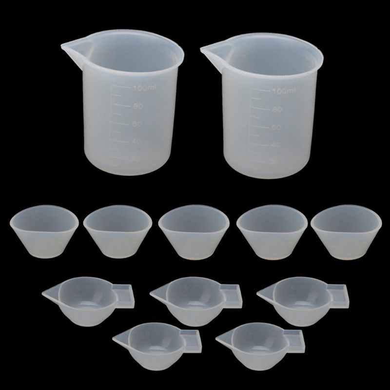 12Pcs Silicone Mixing Measuring Cups UV Resin Mold DIY Casting Jewelry Tool Kit