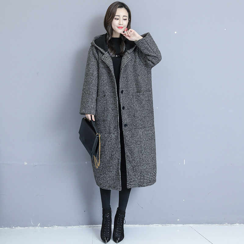 Large Size Women Woolen Coat 2019 Autumn Winter Medium Long Plus Velvet Thickening Woolen Jacket Striped Hooded Outerwear XIN010