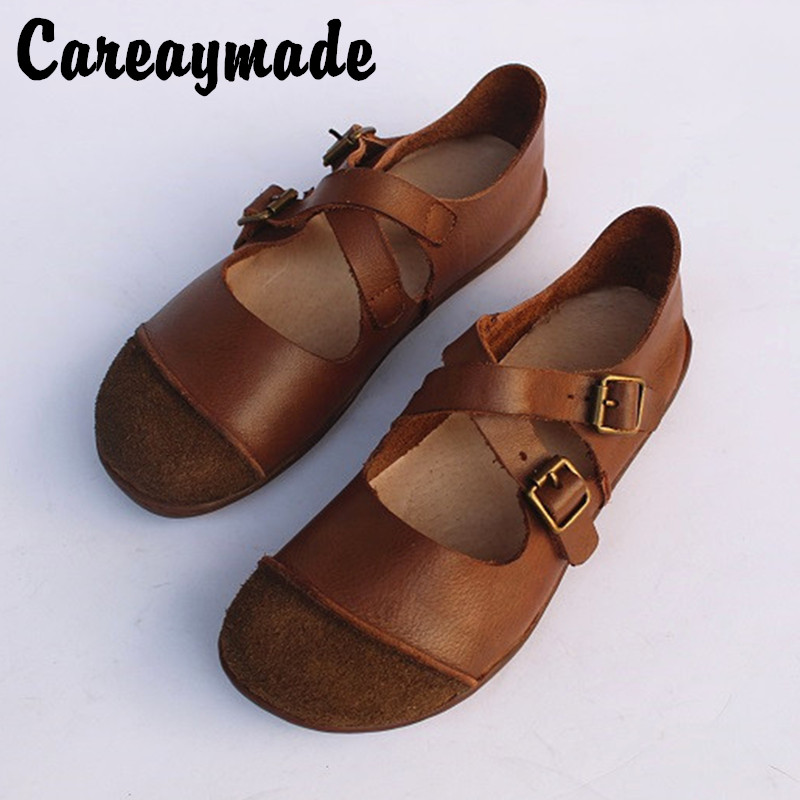 Careaymade-Spring Real Leather, Pure Handmade Antique Belt Buckle, Literature Mori Girl  Single Shoes,can Two Wear Style Shoes