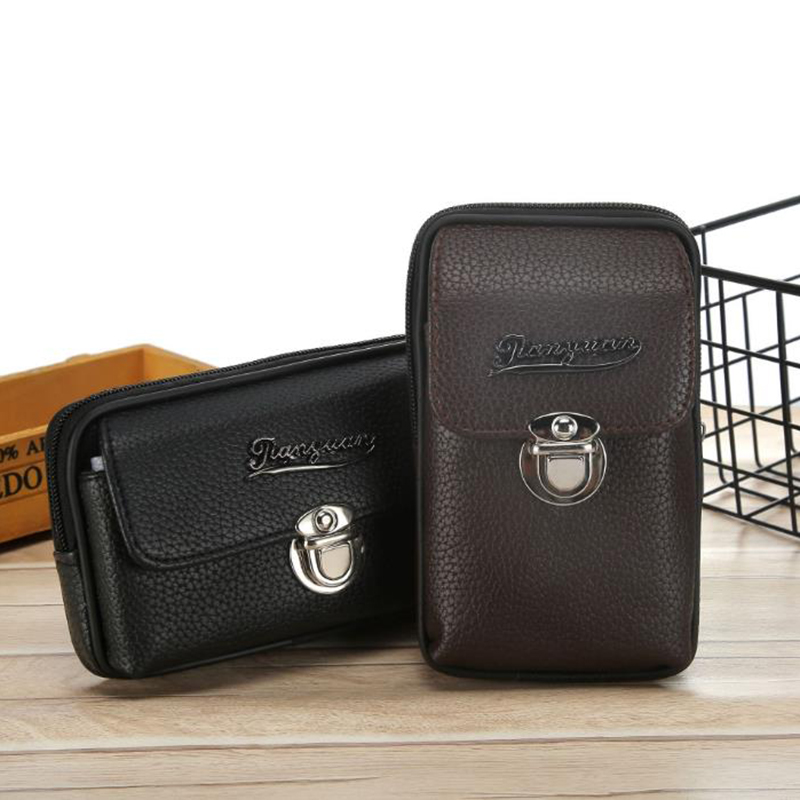 Men's Pu Leather Belt Bag Mobile Phone Bag Lychee Pattern High Quality Belt Wear Belt Men's Coin Purse Belt Bag