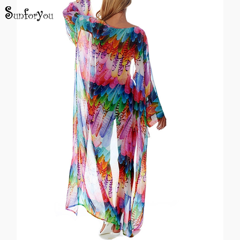 Chiffon Beach Cover Up Sarong Robe De Plage Kaftan Pus Size Swimwear Pareos De Playa Mujer Bathing Suit Cover Up Saida De Praia