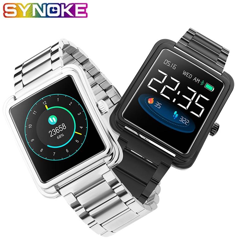 SYNOKE Men Smart Watches Luxury Pedometer Waterproof Steel Band Calorie Sleep Monitor Blood Oxygen Measurement Call Reminder