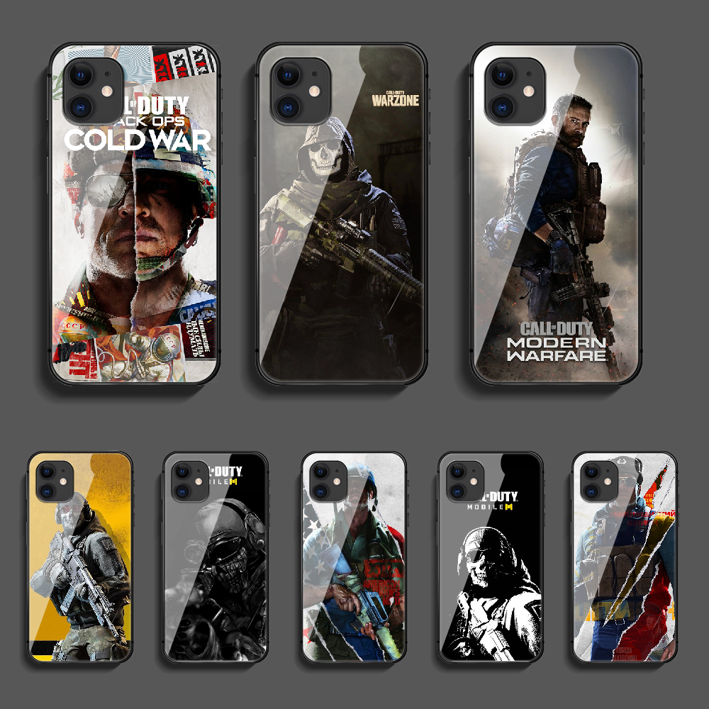 Call Of COD Duty Phone Tempered Glass Case Cover For Iphone 5 6 7 8 11 12 5S 6S X Xr XS Se Max Plus Pro Mini Black Tpu 3D