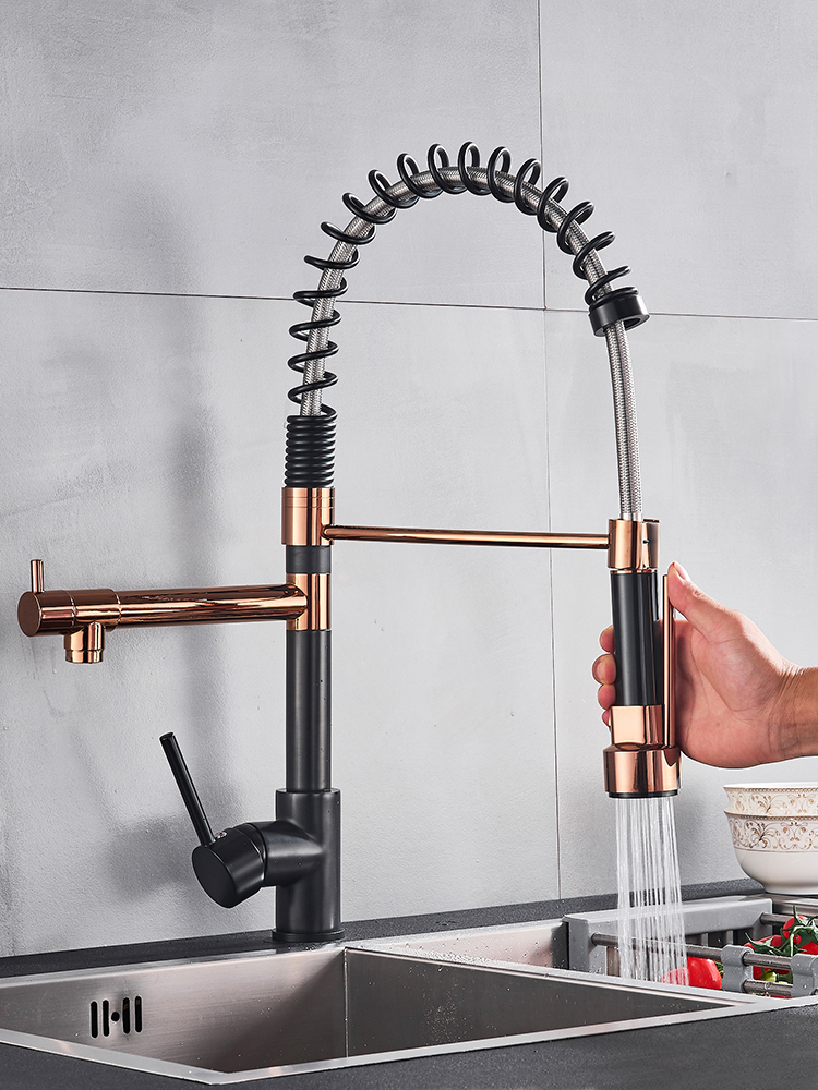 Rozin Crane-Tap Kitchen-Sink-Faucet Deck-Mounted Rose Cold-Water-Mixer Black Golden Spring-Pull-Down