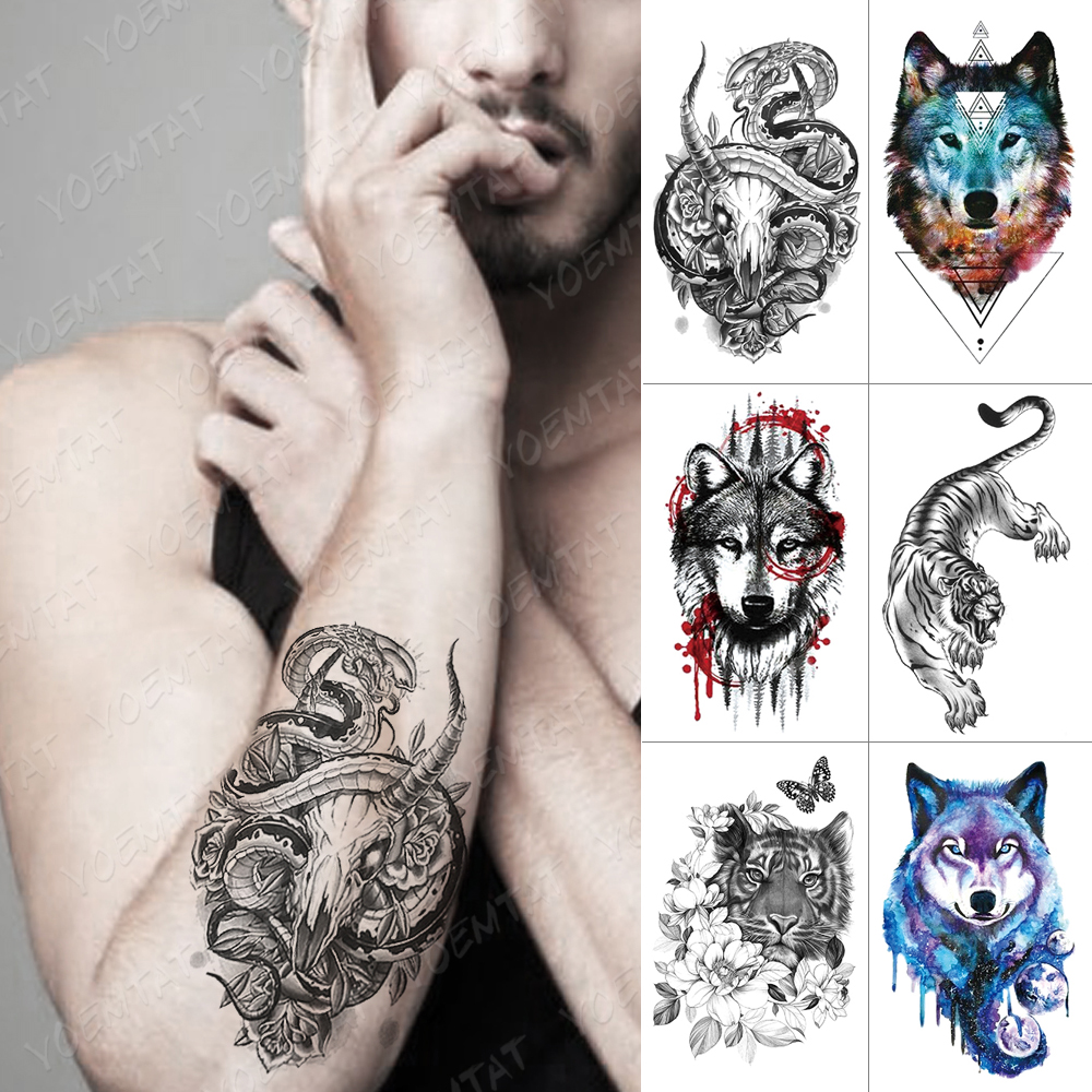 Waterproof Temporary Tattoo Sticker Wolf Tiger Lion Totem Flash Tattoos Dragon Body Art Arm Water Transfer Fake Tatoo Women Men