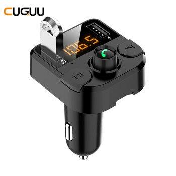 Reproductor transmisor de MP3 BT36B con Bluetooth para coche 5,0, carga USB Dual con micrófono, soporte de pantalla LED, tarjeta TF, interruptor de canción FM