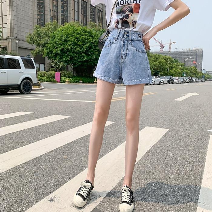 Ladies Jeans Denim Shorts Feminino Summer Highwaist Jeans Plus Size Korean Jeans Casual Tassel Jean Femme Blue 2