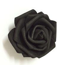 100 adet 7cm siyah yapay EVA köpük gül çiçek başları parti düğün dekorasyon için saç çelenk bilek korsaj elbise aksesuarları