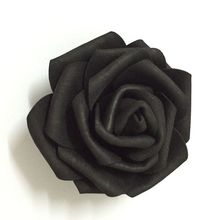 100pcs 7cm Black Artificial EVA Foam Rose Flower Heads For Party Wedding Decoration Hair Wreath Wrist Corsage Dress Accessories