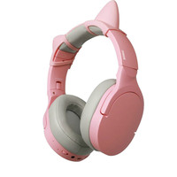 Cat Ear Bluetooth Headphones Stereo Wireless Gaming Headsets with 3.5mm Jack Pink Earphones for Girl friend