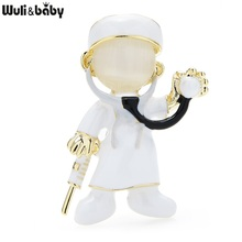 Wuli&baby Enamel Opal Doctor Brooches Women Unisex Hospital Figure Party Casual Office Brooch Pins Gifts