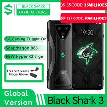 Tubarão preto da versão global 3 5g snapdragon 865 8gb 128gb telefone do jogo octa núcleo 64mp triplo ia câmeras 65w 4720mah