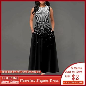 цена на Contrast Color Evening Party Dress Women Sleeveless A-Line Elegant Prom Dresses with Pocket Vintage Printed robe de soiree