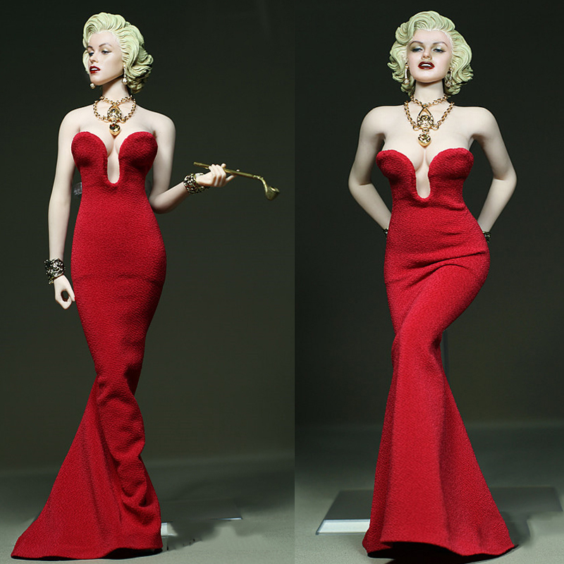 1/6 Scale female figure Marilyn Monroe clothes sexy Long mopping red dress fit 12 inch TBL PH JIAOU figure body