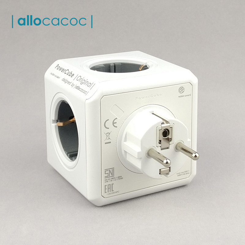 Allocacoc Powercube Eu Power Extension Socket Power Strip Swiss Smart Plug Multiprise Thief EU Plug 5 Outlet Tee Smart Extension
